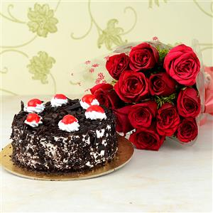 12 Roses with  Black Forest cake