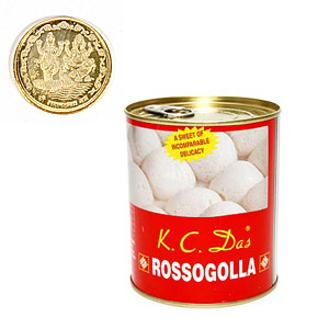 K C Das Rossogolla with Coin