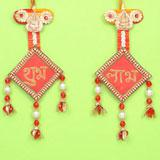 Subh Labh Wall Hanging With Terracotta Ganesh